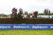 Horse Racing - Fairyhouse Easter Festival, Monday 28th March 2016<br /> Ger Fox on Rogue Angel clears the last fence along side Bless the Wings with Ruby Wlash in the saddle and goes on to wins the 2016 Grand National<br /> Photo: David Mullen /www.cyberimages.net / 2016
