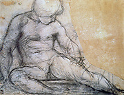 Sitting Boy', Pencil with traces of charcoal on paper. Pontomoro (Jacopo Carucci 1494-1557) Italian Mannerist painter. Nude Male