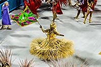 Flag bearer (porta bandeira) in the Carnaval parade of GRES Estacao Primeira de Mangueira samba school in the Sambadrome, Rio de Janeiro, Brazil.