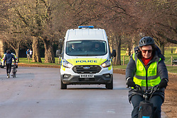 © Licensed to London News Pictures. 06/01/2021. London, UK. Police patrol Hyde Park in London as members of the public enjoy a walk in the park as cases continue to rise dramatically throughout the capital with the UK recording over 60,000 positive tests a day. Yesterday, Prime Minister Boris Johnson plunged England into another lockdown as he ordered schools to close and office workers to work from home in his televised address to the nation. This week, the first person in the world was vaccinated with the Oxford AstraZeneca Covid-19 vaccine with over 500,000 doses made available for high risk groups as the government race to vaccinate 13 million people in seven weeks. Photo credit: Alex Lentati/LNP