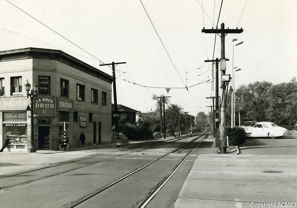 1947 Looking west at Marshfield Way, just west of La Brea Ave.