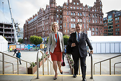 © Licensed to London News Pictures  . 03/10/2017 . Manchester , UK . LIZ TRUSS in front of the Midland Hotel on day three of the Conservative Party Conference at the Manchester Central Convention Centre . Photo credit : Joel Goodman/LNP
