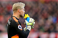 Leicester City Goalkeeper Kasper Schmeichel has a drink. Premier league match, Stoke City v Leicester City at the Bet365 Stadium in Stoke on Trent, Staffs on Saturday 4th November 2017.<br /> pic by Chris Stading, Andrew Orchard sports photography.