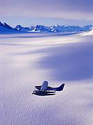 Wings of Alaska Cessna 206 flying over the Juneau Icefield, Southeast Alaska.