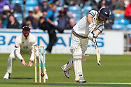 Adam Lyth of Yorkshire plays an attacking shot during the opening day of the Specsavers County Champ Div 1 match between Yorkshire County Cricket Club and Hampshire County Cricket Club at Headingley Stadium, Headingley, United Kingdom on 27 May 2019.