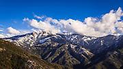 Castle Rocks and Paradise Peak in winter, Sequoia National Park, California USA