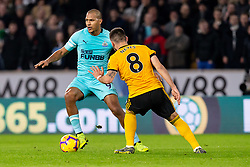 February 11, 2019 - Wolverhampton, England, United Kingdom - Jose Salomon Rondon of Newcastle United goes passed Ruben Neves of Wolverhampton Wanderers during the Premier League match between Wolverhampton Wanderers and Newcastle United at Molineux, Wolverhampton on Monday 11th February 2019. (Credit Image: © Mi News/NurPhoto via ZUMA Press)