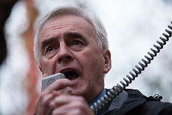 Shadow Chancellor John McDonnell addresses thousands of students attending a National Demonstration for a Free Education on 4th November 2015 in London, United Kingdom. The demonstration was organised by the National Campaign Against Fees and Cuts (NCAFC) in protest against tuition fees and the Government's plans to axe maintenance grants with effect from 2016.