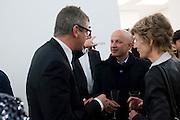 JAY JOPLING; SAM KELLER, Opening of new White Cube Gallery in Bermondsey. London. 11 October 2011. <br /> <br />  , -DO NOT ARCHIVE-© Copyright Photograph by Dafydd Jones. 248 Clapham Rd. London SW9 0PZ. Tel 0207 820 0771. www.dafjones.com.
