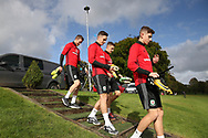 Wales players arrive for the Wales football team training at the Vale Resort, Hensol , South Wales on Monday 2nd October 2017, the team are preparing for their FIFA World Cup qualifier away to Georgia this week. pic by Andrew Orchard, Andrew Orchard sports photography