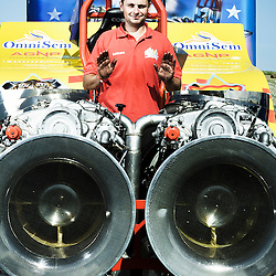 BOUCONVILLE, FRANCE. AUGUST 21, 2011. Redoutables' driver Guillaume Chauvin. Tractor Pulling: Eurocup 2011. Photo: Antoine Doyen
