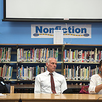 Potential candidates for the Zuni School Board Superintendent position, from left, Karen Sanchez-Griego, Thomas Graves and Elvira Bitsoi introduce themselves during a community forum at Zuni Middle School in Zuni Friday.