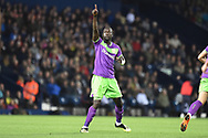 Bristol City striker Famara Diedhiou (9) scores a goal and celebrates  4-2 during the EFL Sky Bet Championship match between West Bromwich Albion and Bristol City at The Hawthorns, West Bromwich, England on 18 September 2018.