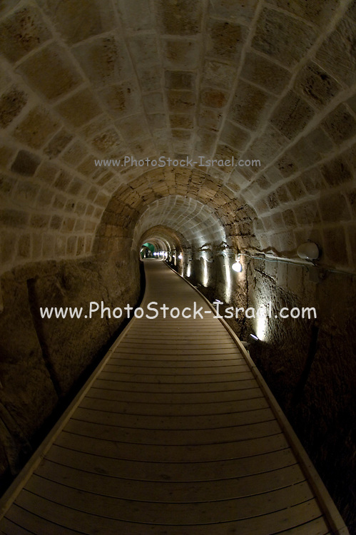 Israel, western Galilee, Acre, The Templar's tunnel presumed to be a secret escape rout from the citadel