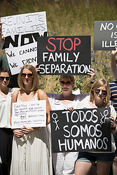 © Licensed to London News Pictures. 30/06/2018. London, UK. Americans living in the UK protest against President Trump's immigration policies outside the US Embassy in London. Photo credit: Peter Macdiarmid/LNP