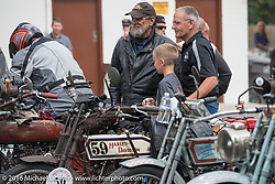 Hosted lunch stop in Alamosa during the Motorcycle Cannonball Race of the Century. Stage-10 ride from Pueblo, CO to Durango, CO. USA. Tuesday September 20, 2016. Photography ©2016 Michael Lichter.