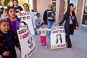 07 FEBRUARY 2011 - PHOENIX, AZ: The children of immigrants and their parents march at the Arizona Capitol in support of birthright citizenship and the 14th Amendment Monday, February 7. The Arizona State Legislature, led by the State Senate is debating the 14th Amendment, which would bar US citizenship for the children of undocumented immigrants born in the United States. The bill has broad support among Republicans, who are the majority party, in the state legislature but not among Democrats. The law is also very unpopular in the state's Latino and immigrant communities.       Photo by Jack Kurtz