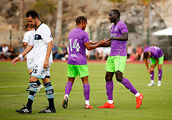 Famara Diedhiou of Bristol City celebrates after scoring his sides second goal  - Mandatory by-line: Matt McNulty/JMP - 22/07/2017 - FOOTBALL - Tenerife Top Training - Costa Adeje, Tenerife - Bristol City v Atletico Union Guimar  - Pre-Season Friendly