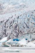 Face of the Mendenhall Glacier as it retreats (grows smaller).Juneau,Alaska