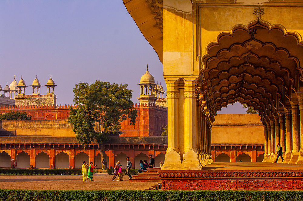 Columns and arches, Agra Fort (Red Fort of Agra), Agra, Uttar Pradesh, India