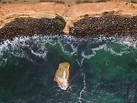 Aerial view of a rocky empty beach in San Diego, California, USA.