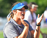 Freeburg softball coach Becky Mueth claps for her team. Freeburg defeated Nashville in the Class 2A sectional softball title game at Nashville High School in Nashville, IL on Thursday June 10, 2021. Tim Vizer/Special to STLhighschoolsports.com.