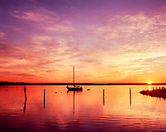 Cutchogue Harbor, boat and Sunrise, New Suffolk, NY