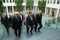 """15 MAY 2012, BERLIN/GERMANY:<br /> Frank-Walter Steinmeier (L), SPD Fraktionsvorsitzender, Sigmar Gabriel (M), SPD Parteivorsitzender, Peer Steinbrueck (R), SPD, Bundesminister a.D., auf dem Weg zu einer Pressekonferenz zum Thema """" Der Weg aus der Krise – Wachstum und Beschäftigung in Europa"""", Bundespressekonferenz<br /> IMAGE: 20120515-01-014<br /> KEYWORDS: Peer Steinbrück, Treppe"""