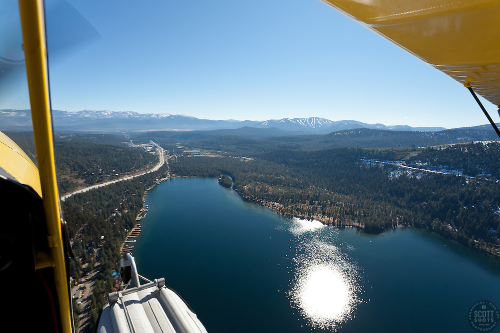 """""""Seaplane over Donner Lake"""" - Photograph of Donner Lake in Truckee California. Shot from an amphibious seaplane with the door removed."""