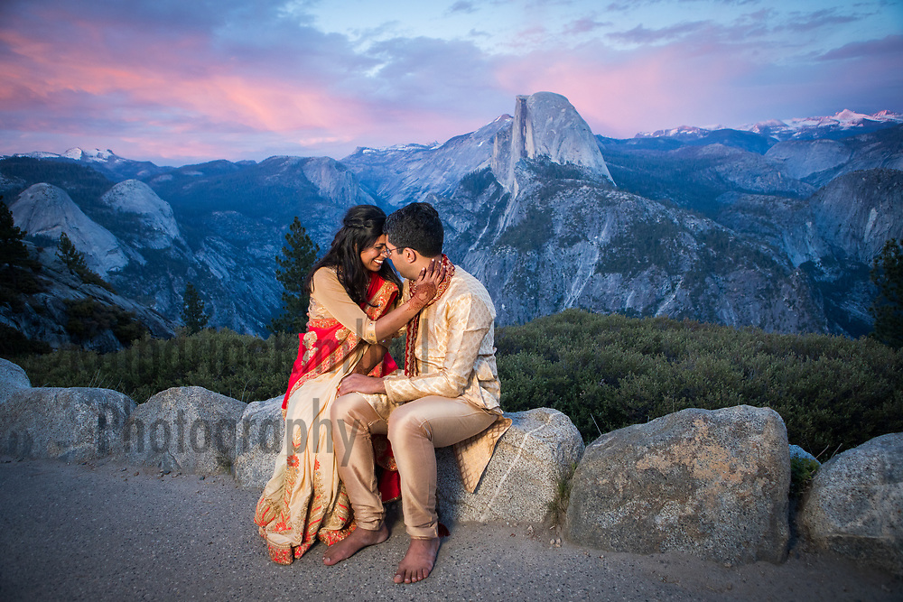 Engagement portait with Half Dome at Yosemite National Park