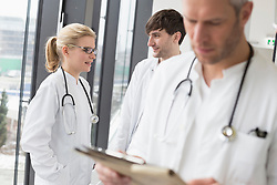Doctor reading file while colleagues in background