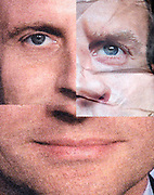 collaged and crumpled newspaper print with extreme close up of Emmanuel Macron's face