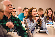 Angela Bell asks a question during a talk led by Mollie Ziegler Hemingway, senior editor at The Federalist, during the 2017 LCMS Life Conference on Sunday, Jan. 29, 2017, in Arlington, Va. LCMS Communications/Erik M. Lunsford