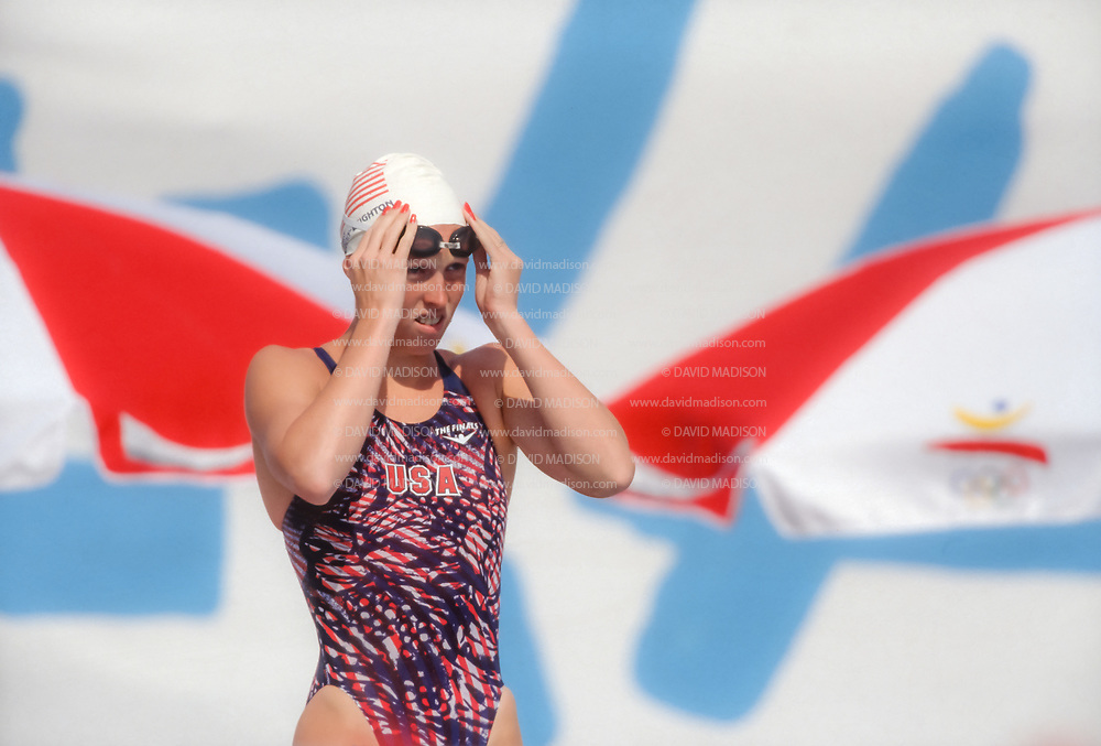 BARCELONA, SPAIN -  JULY 12:  Crissy Ahmann-Leighton of the USA prepares to swim in the qualifying heats of the Women's 100 meters Butterfly race during the 1992 Summer Olympics on July 12, 1992 at the Bernat Picornell Pools in Montjuic, Spain; Amman-Leighton was the eventual silver medalist. (Photo by David Madison/Getty Images)