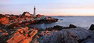 The First Light Of Dawn At The Portland Head Light, A Classic New England Lighthouse, Portland Maine, USA