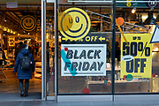 Shoppers are out on London's Oxford Street for the Black Friday event on the 29th November 2019 in central London in the United Kingdom. Black Friday is a shopping event that originated from the US where retailers cut prices on the day after the Thanksgiving holiday.