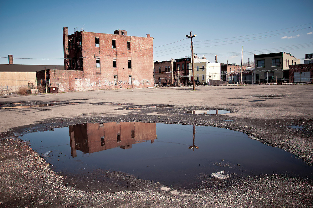 A wasteland with a disused building, Red Hook, Brooklyn