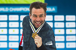 Benjamin Karl (AUT) during medal ceremony after parallel slalom FIS Snowboard Alpine World Championships 2021 on March 2nd 2021 on Rogla, Slovenia. Photo by Grega Valancic / Sportida