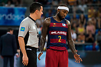 FC Barcelona Lassa player Tyrese Rice talking with the referee during the final of Supercopa of Liga Endesa Madrid. September 24, Spain. 2016. (ALTERPHOTOS/BorjaB.Hojas)