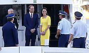 April 16, 2014 - Sydney, AUSTRALIA - <br /> <br /> Prince William and Kate, Duchess of Cambridge<br /> <br /> Britain's Prince William, center left, and his wife Kate, the  Duchess of Cambridge, speak to policemen on a boat at the  Man O' War steps at the Sydney Opera House before  traveling to Admiralty House in Sydney Wednesday, April  16, 2014. The royal couple are on an official visit to New  Zealand and Australia with their son Prince George.<br /> ©Exclusivepix