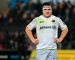 Saracens' Jamie George<br /> <br /> Photographer Simon King/Replay Images<br /> <br /> European Rugby Champions Cup Round 5 - Ospreys v Saracens - Saturday 13th January 2018 - Liberty Stadium - Swansea<br /> <br /> World Copyright © Replay Images . All rights reserved. info@replayimages.co.uk - http://replayimages.co.uk