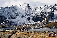 Small fishing villages of Hamnøy and Reine and Kjerkefjord fjord, Lofoten islands, Norway