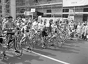 Calor/Kosangas Pro-Am Cycle Race.   (P85)..1984..01.05.1984..05.01.1984..1st May 1984..The Calor/Kosangas Pro-Am tour of Ireland cycle race set off from the G.P.O.in Dublin today...Image shows the cyclists lining up for the start of the Race. The currently being refurbished G.P.O.forms the backdrop.