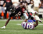Atlanta Falcons running back Tevin Coleman (26) runs and is tackled by Buffalo Bills linebacker Ramon Humber (50) during a week 4 NFL football game on Sunday, Oct. 1, 2017 in Atlanta, GA. (Mike Zarrilli/AP Images for Panini, via AP)