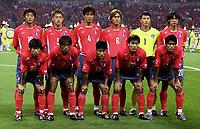 Fotball. VM 2002. 04.06.2002.<br />Sør-Korea v Polen.<br />Sør-Koreas lag.<br />Bak fra venstre; SUN HONG HWANG / NAM IL KIM / JIN CHEUL CHOI / SANG CHUL YOO / WOON JAE LEE / MYUNG BO HONG . <br />Foran fra venstre: JI SUNG PARK / TAE YOUNG KIM / EUL YONG LEE / CHONG GUG SONG / KI HYEON SEOL.<br />Foto: Franck Faugere, Digitalsport *** Local Caption *** 40000364