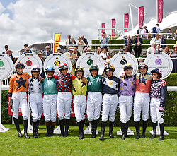 29 July 2021 - The QATAR Goodwood Festival Ladies Day at Goodwood Racecourse, West Sussex.<br /> Picture Shows - The riders in the 2021 Magnolia Cup.<br /> <br /> NON EXCLUSIVE - WORLD RIGHTS