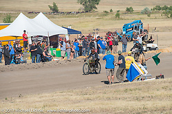 Sons of Speed banked dirt oval racing at the Full Throttle Saloon during the annual Sturgis Black Hills Motorcycle Rally. Sturgis, SD. USA. Thursday August 10, 2017. Photography ©2017 Michael Lichter.