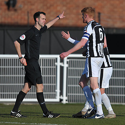 TELFORD COPYRIGHT MIKE SHERIDAN RED CARD. Spennymoor defender James Curtis is sent off for a high tackle on Brendon Daniels of Telford  during the Vanarama Conference North fixture between Spennymoor Town and AFC Telford United at Brewery Field, Spennymoor on Saturday, February 29, 2020.<br /> <br /> Picture credit: Mike Sheridan/Ultrapress<br /> <br /> MS201920-048