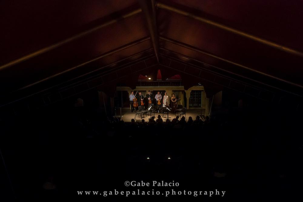 Edward Arron & Friends perform, featuring Tessa Lark, violin, Jesse Mills, violin, Mark Holloway, viola, Max Mandel, viola, Alice Yoo, cello, Edward Arron, cello, in the Spanish Courtyard at Caramoor in Katonah New York on June 24, 2016. <br /> (photo by Gabe Palacio)