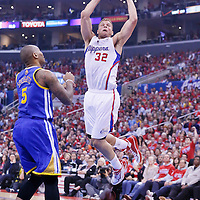 21 April 2014: Los Angeles Clippers forward Blake Griffin (32) goes for a dunk during the Los Angeles Clippers 138-98 victory over the Golden State Warriors, during Game Two of the Western Conference Quarterfinals of the NBA Playoffs, at the Staples Center, Los Angeles, California, USA.
